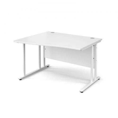 Maestro 25 WL left hand wave desk 1200mm - white cantilever frame and white top
