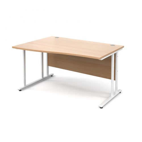Maestro 25 WL left hand wave desk 1400mm - white cantilever frame and beech top