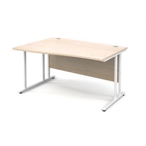 Maestro 25 WL left hand wave desk 1400mm - white cantilever frame and maple top