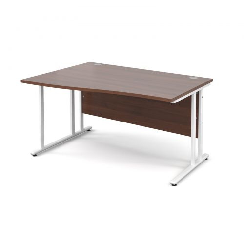Maestro 25 WL left hand wave desk 1400mm - white cantilever frame, walnut top