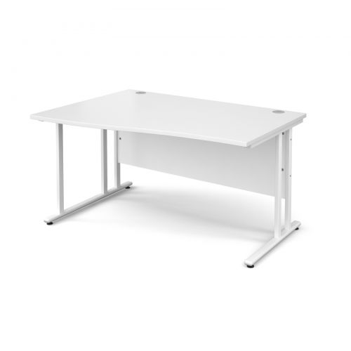 Maestro 25 WL left hand wave desk 1400mm - white cantilever frame and white top