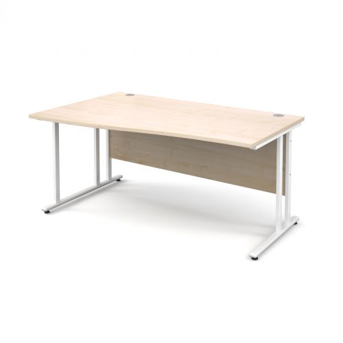 Maestro 25 WL left hand wave desk 1600mm - white cantilever frame, maple top