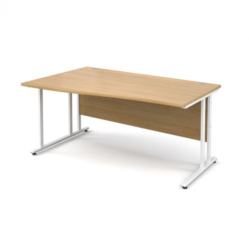 Maestro 25 WL left hand wave desk 1600mm - white cantilever frame and oak top