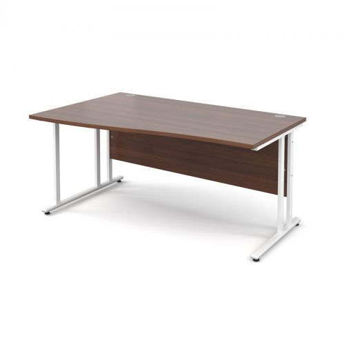 Maestro 25 WL left hand wave desk 1600mm - white cantilever frame and walnut top