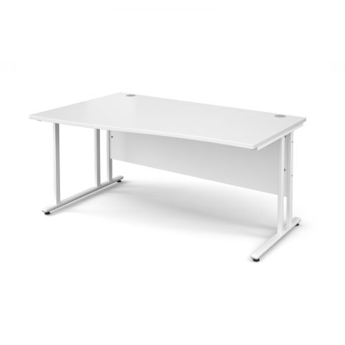Maestro 25 WL left hand wave desk 1600mm - white cantilever frame and white top