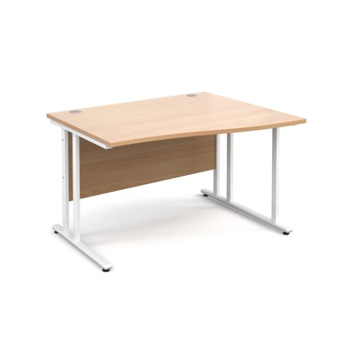 Maestro 25 WL right hand wave desk 1200mm - white cantilever frame and beech top