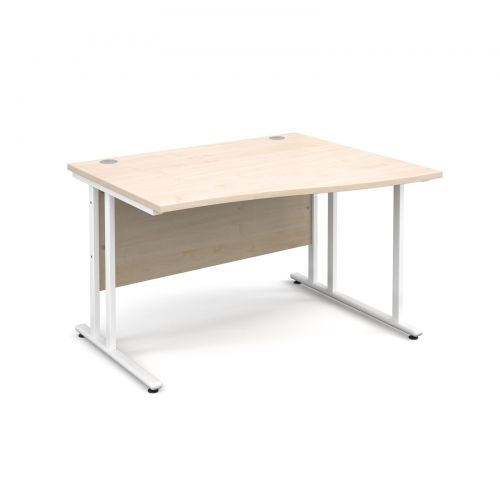 Maestro 25 WL right hand wave desk 1200mm - white cantilever frame and maple top