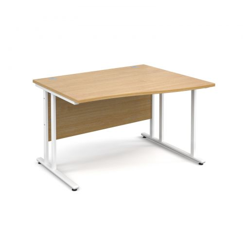 Maestro 25 WL right hand wave desk 1200mm - white cantilever frame and oak top