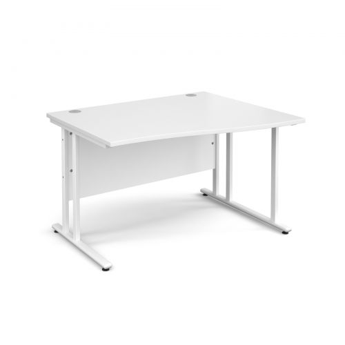 Maestro 25 WL right hand wave desk 1200mm - white cantilever frame and white top
