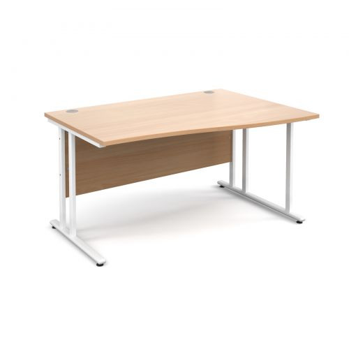 Maestro 25 WL right hand wave desk 1400mm - white cantilever frame and beech top