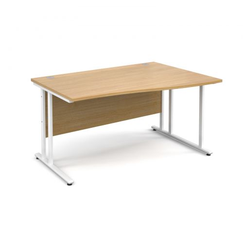 Maestro 25 WL right hand wave desk 1400mm - white cantilever frame, oak top