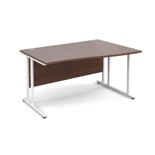 Maestro 25 WL right hand wave desk 1400mm - white cantilever frame and walnut top