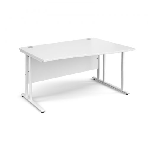 Maestro 25 WL right hand wave desk 1400mm - white cantilever frame and white top