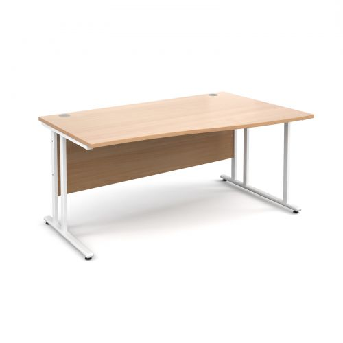 Maestro 25 WL right hand wave desk 1600mm - white cantilever frame, beech top