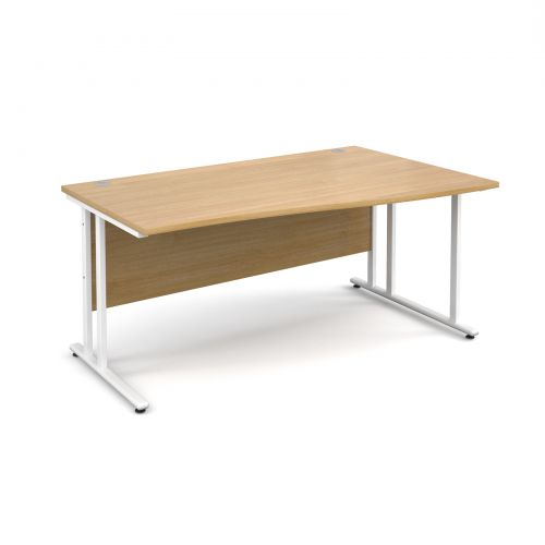 Maestro 25 WL right hand wave desk 1600mm - white cantilever frame and oak top
