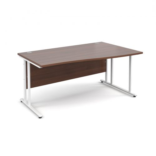 Maestro 25 WL right hand wave desk 1600mm - white cantilever frame and walnut top