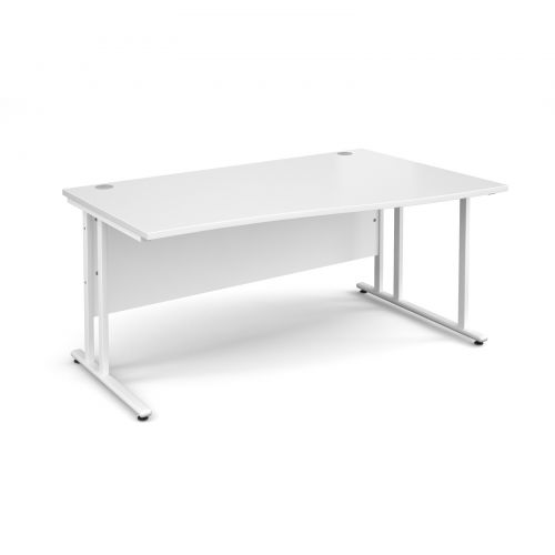 Maestro 25 WL right hand wave desk 1600mm - white cantilever frame and white top