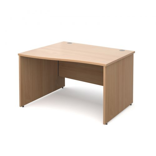 Maestro 25 PL left hand wave desk 1200mm - beech panel leg design