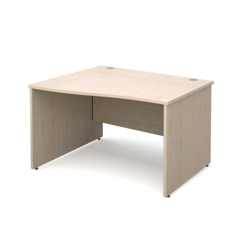 Maestro 25 PL left hand wave desk 1200mm - maple panel leg design
