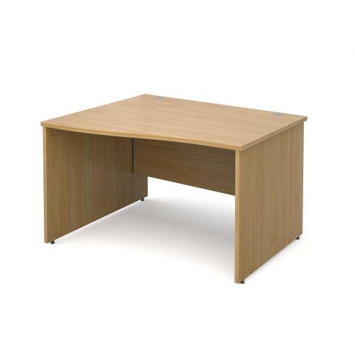 Maestro 25 PL left hand wave desk 1200mm - oak panel leg design
