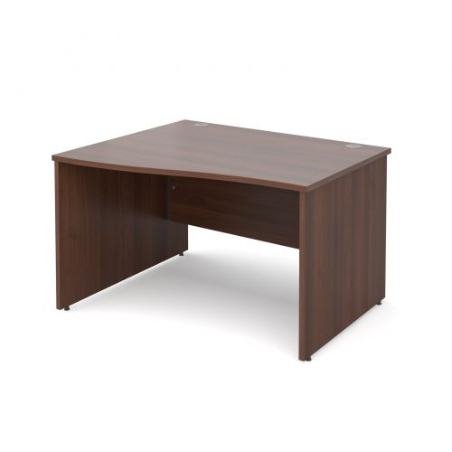 Maestro 25 PL left hand wave desk 1200mm - walnut panel leg design