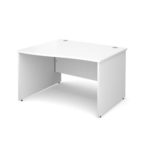 Maestro 25 PL left hand wave desk 1200mm - white panel leg design