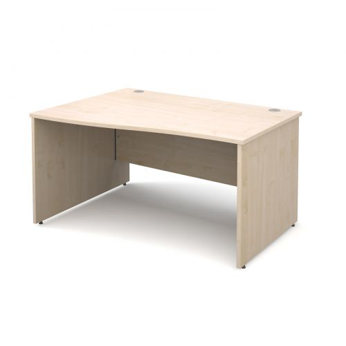 Maestro 25 PL left hand wave desk 1400mm - maple panel leg design