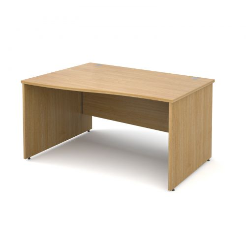 Maestro 25 PL left hand wave desk 1400mm - oak panel leg design