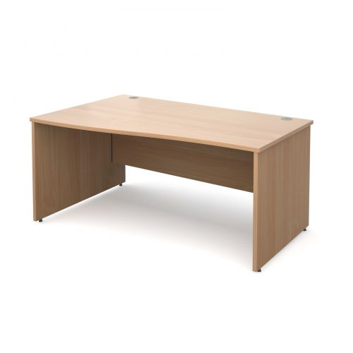 Maestro 25 PL left hand wave desk 1600mm - beech panel leg design