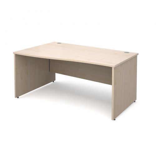 Maestro 25 PL left hand wave desk 1600mm - maple panel leg design