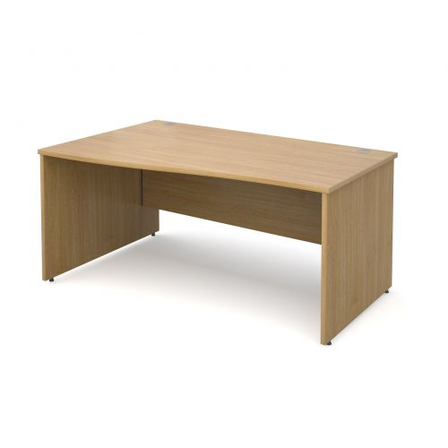 Maestro 25 PL left hand wave desk 1600mm - oak panel leg design