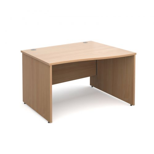 Maestro 25 PL right hand wave desk 1200mm - beech panel leg design