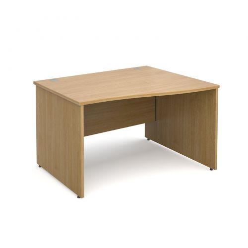 Maestro 25 PL right hand wave desk 1200mm - oak panel leg design
