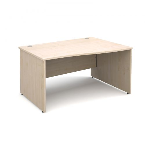 Maestro 25 PL right hand wave desk 1400mm - maple panel leg design