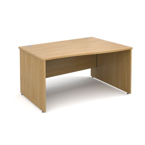 Maestro 25 PL right hand wave desk 1400mm - oak panel leg design