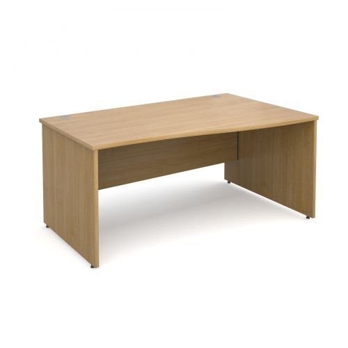 Maestro 25 PL right hand wave desk 1600mm - oak panel leg design