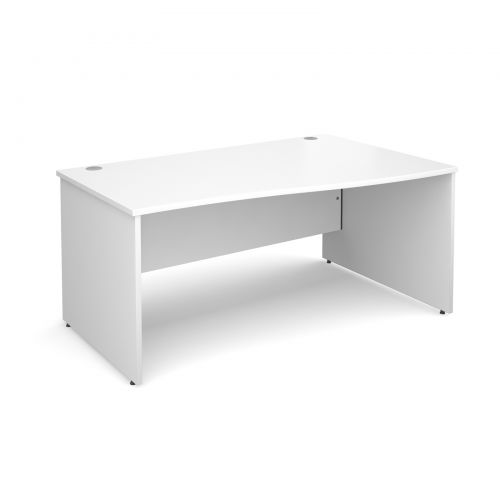 Maestro 25 PL right hand wave desk 1600mm - white panel leg design