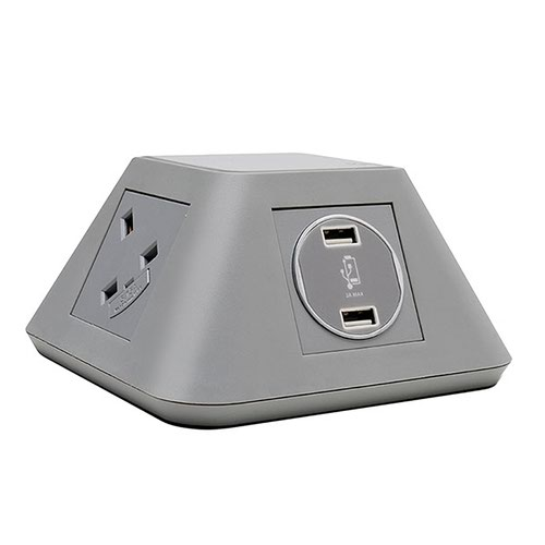 Inca on-surface power module 2 x UK sockets, 2 x twin USB fast charge - grey