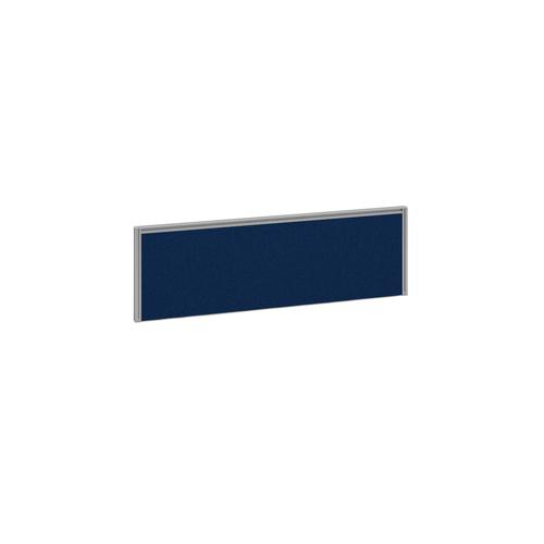 Straight fabric desktop return screen 1185mm x 380mm - blue fabric with silver aluminium frame