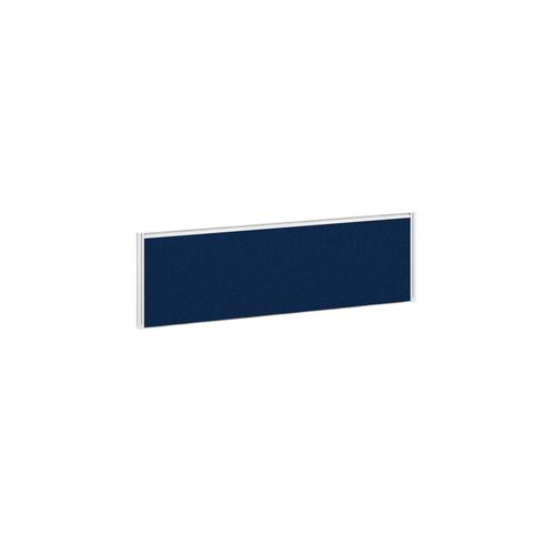 Straight fabric desktop return screen 1185mm x 380mm - blue fabric with white aluminium frame