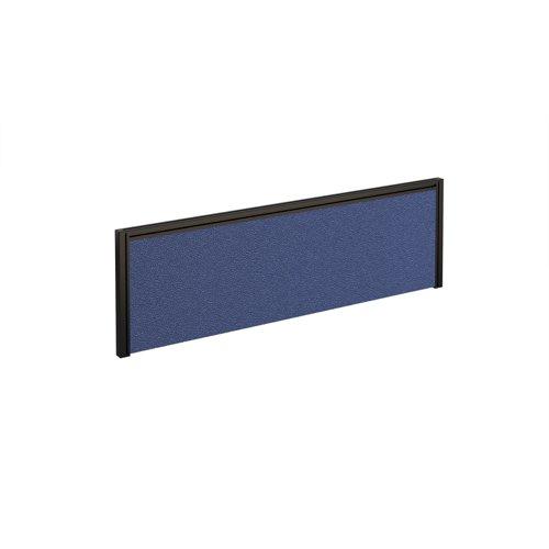 Straight fabric desktop screen 1200mm x 380mm - blue fabric with black aluminium frame