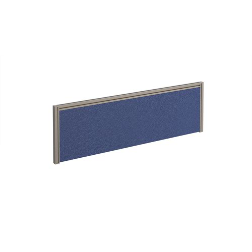 Straight fabric desktop screen 1200mm x 380mm - blue fabric with silver aluminium frame