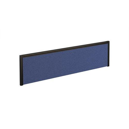Straight fabric desktop screen 1400mm x 380mm - blue fabric with black aluminium frame
