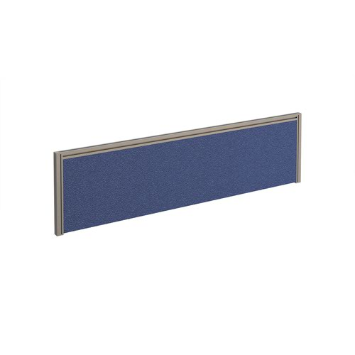 Straight fabric desktop screen 1400mm x 380mm - blue fabric with silver aluminium frame