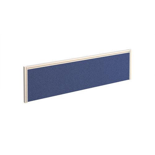 Straight fabric desktop screen 1400mm x 380mm - blue fabric with white aluminium frame