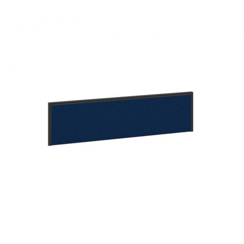 Straight fabric desktop screen 1400mm x 380mm - blue fabric with black aluminium frame