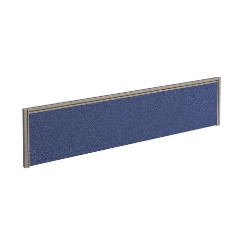 Straight fabric desktop screen 1600mm x 380mm - blue fabric with silver aluminium frame