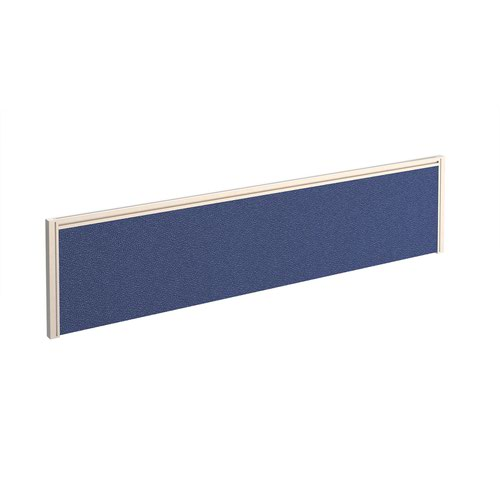 Straight fabric desktop screen 1600mm x 380mm - blue fabric with white aluminium frame
