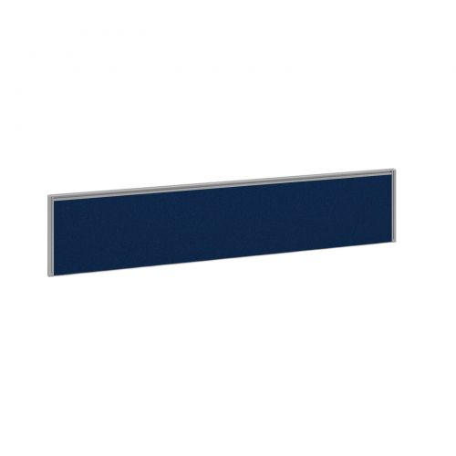 Straight fabric desktop screen 1800mm x 380mm - blue fabric with silver aluminium frame