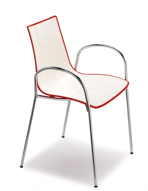 Gecko shell dining chair with chrome legs and arms - red